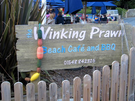Winking Prawn Beach Cafe sign