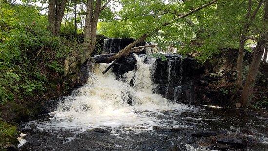 """Shohola Lake: Elegant """"side falls"""" that were rushing with the abundant water"""
