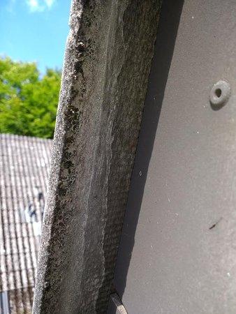 Kell am See, Germany: Asbest dak vanaf achterzijde op het terras.