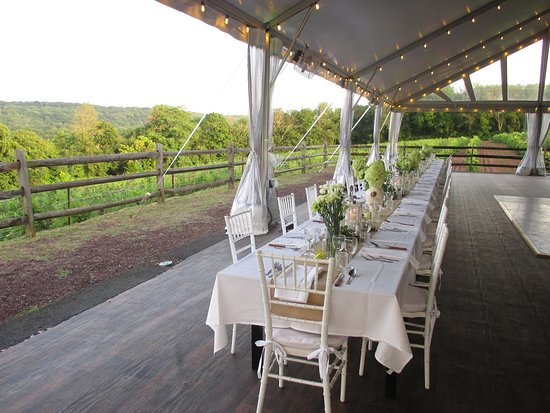 Erwinna, PA: Table setting for dinner for 40 with wine pairings