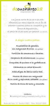los jueves noche tenemos un menú a precio muy reducido para nuestros clientes. Disfrute y sabore