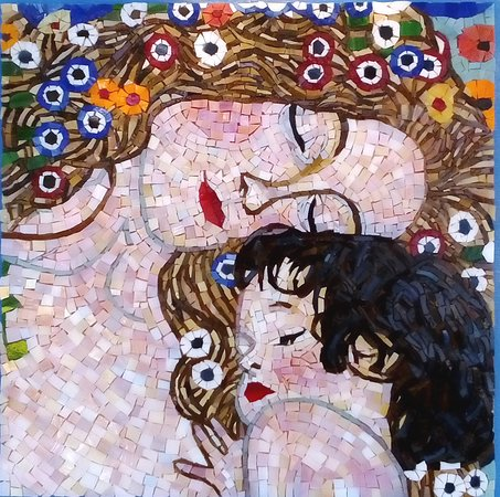 "Hanioti, Grecja: Mosaic:Gustav Klimt,Mother and Child from ""The tree generations of woman"",made by ""Mosaics24"""