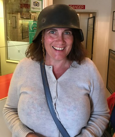 Wife enjoyed trying on a genuine WW2 German helmet! - Picture of The
