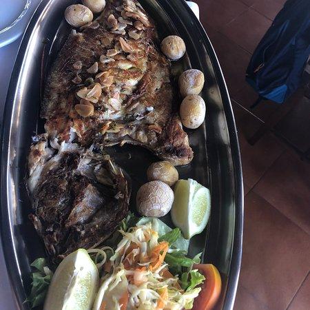 Heerlijke verse vis onder genot van een Lanzarote wijn!