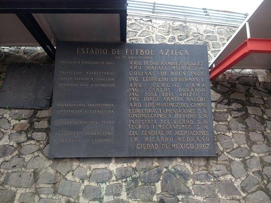Estadio Azteca: Placa.
