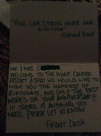 Birthday card left for me in my room - Picture of Hyatt