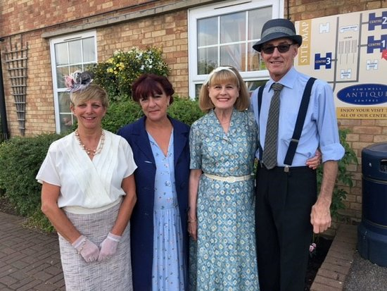 Hemswell Cliff, UK: Building managers and staff ready for the 1940s weekend