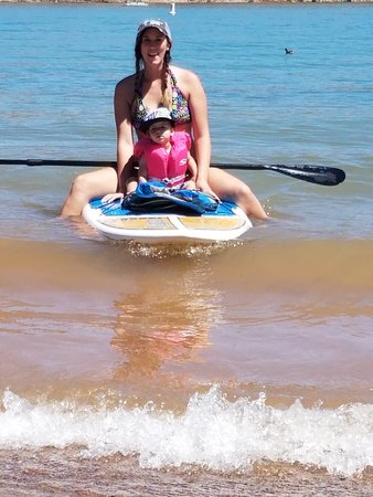 Dig Paddlesports: Me and my son on one of the paddle boards. He loved it. would fall asleep.