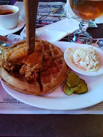 Dallas BBQ: Chicken with herbed cheese waffle