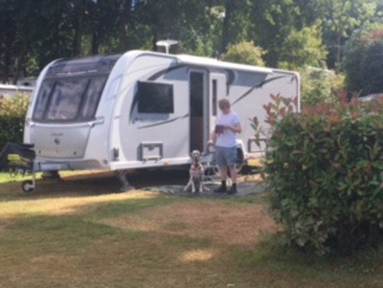 Saint Marcan, France: this is a 8 feet wide, 27 feet long caravan, plenty of space for awning and car, plus a pup tent