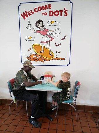 Dots Diner: Jaxon on his break with his new BFF, Mr. Carver.