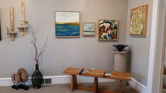 Lindstrom, MN: Megan Bell paintings, Chris Buchta bench and shelves