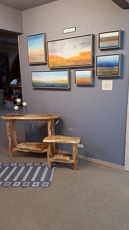 Lindstrom, MN: William Markwardt pastel paintings and Karle Erickson table and bench.