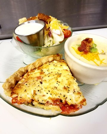 Bethalto, IL: Tomato Pie: Homemade daily special. So delicious.