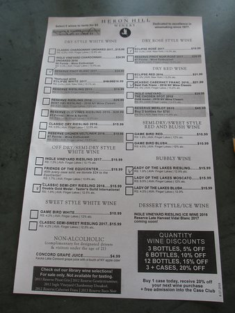 Heron Hill Winery: List of choices (as of Aug 2018)