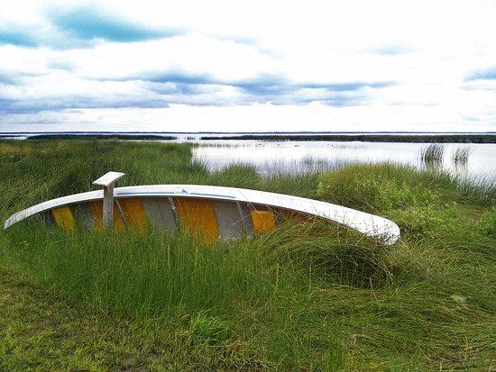 Stettler, Canada : Canoe at Rochon Sands Provincial Park.