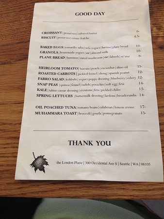 The London Plane: The Good Day Menu
