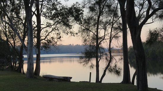 Wooli, Australia: Log seat in front of the cabins with a view down the river.