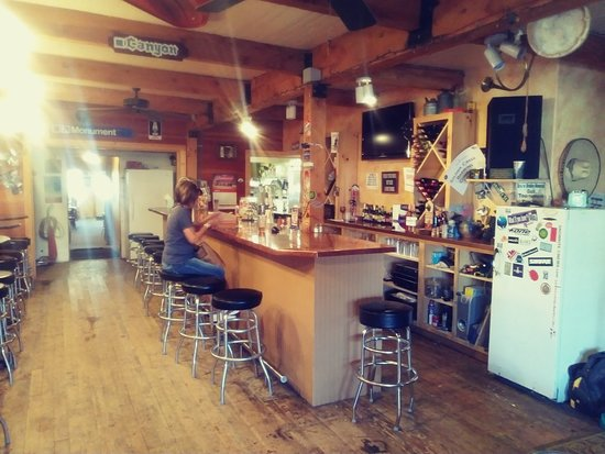 Fairfield, ID: The bar at Soldier Creek Brewing.