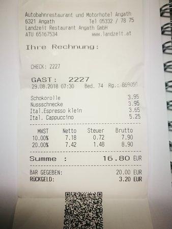 Angath, Österreich: scontrino colazione veloce