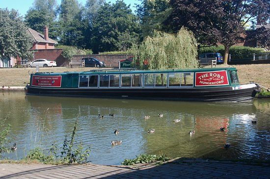 The Rose of Hungerford on her mooring at Hungerford Wharf.
