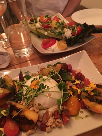 Cohoes, NY: Burrata with Grilled Peaches and Grilled Wedge Salad