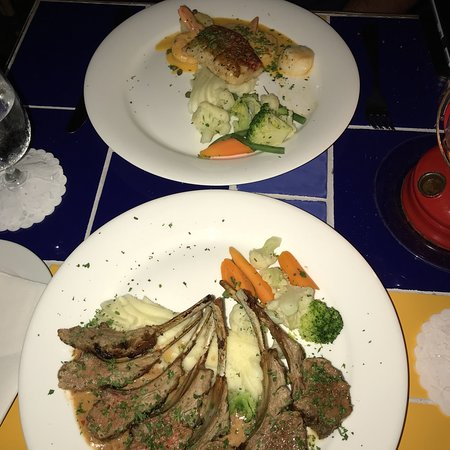 Calypso Grill: Rack of Lamb and Snapper Montecarlo