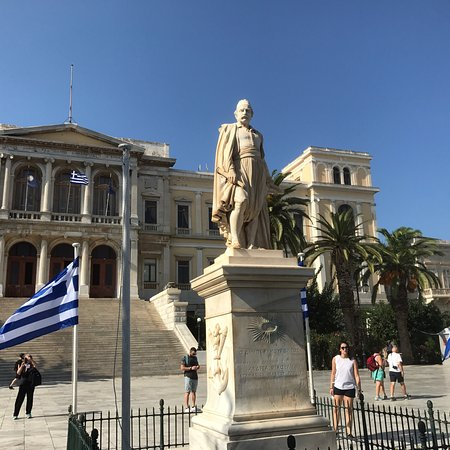 Hermoupolis, Greece: Statue of Admiral Andreas Vokos who commanded Greek naval forces during the Greek War of Indepen
