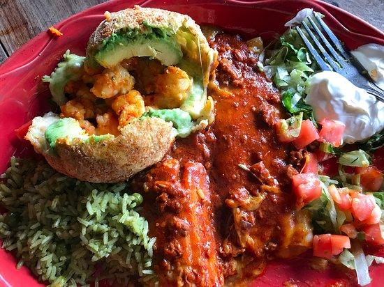 El Tiempo Cantina- Washington: Shrimp filled avocado canon bar with two tamales. The green chili rice!