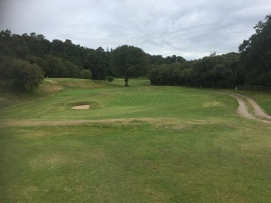 Corrie Golf Club: Looking over the 7th green and the 2nd green behind