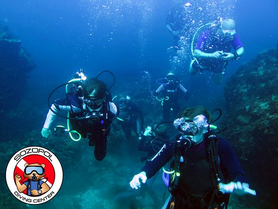 Divers enjoying great visibility near Sozopol, Bulgaria