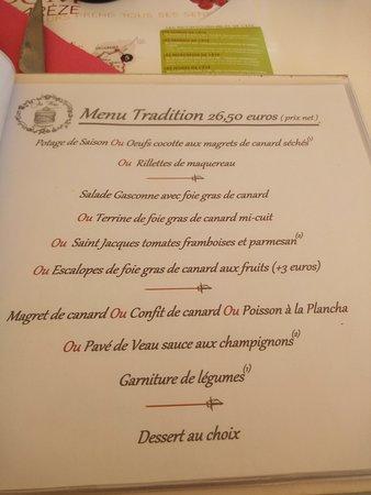 Caussens, France: menu tradition proposé