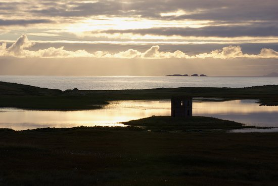 Outer Hebrides, UK: The tower at sunset