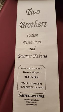 Pomona, NJ: Menu of Two Brothers Italian Restaurant and Gourmet Pizzeria