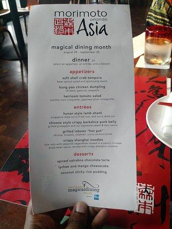Magical Dining Menu Picture Of Morimoto Asia Orlando