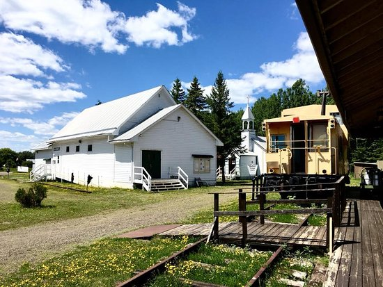 Thunder Bay, Canada: Slate River Hall, Caboose, and Church from the Train Station deck