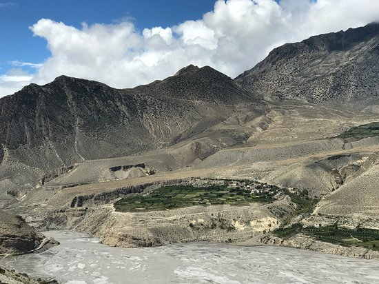 Gokarneshwor, Nepal: Picture shows a beautiful village near Jomsom in Mustang
