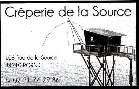 Creperie De La Source Carte Visite