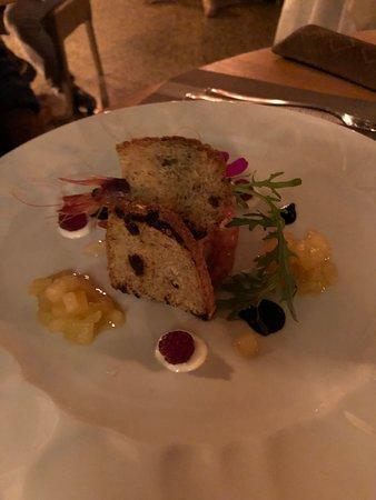 Berta: Fois gras scampo e pere