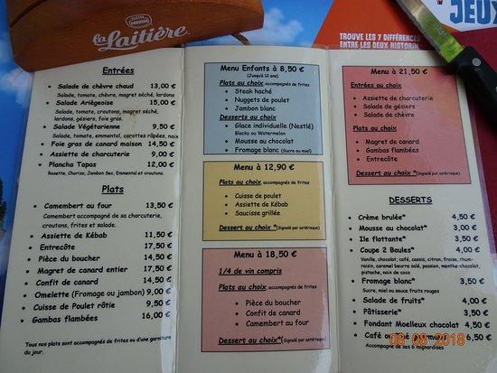 Ornolac-Ussat-les-Bains, Francia: Carte simple mais cuisine au top.