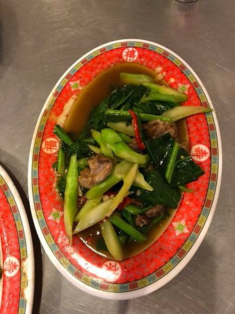 Chinese spinach with crispy pork