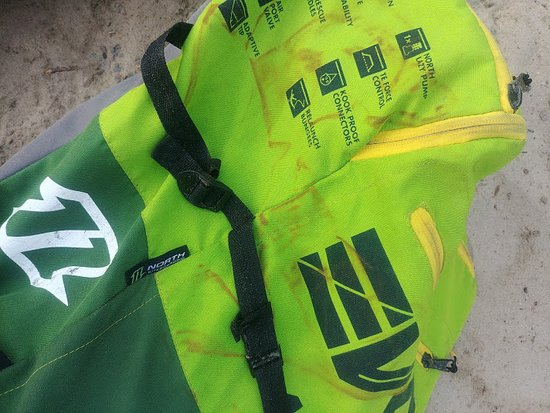 Mannar, Sri Lanka: Stained equipment bags