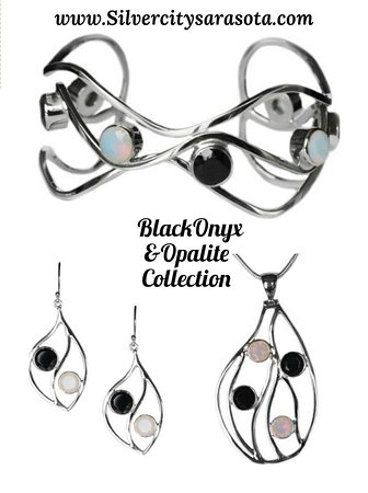 Handcrafted pieces by Silver City with faceted onyx in