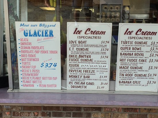 Churubusco, IN: Sample ice cream menu from outside restaurant