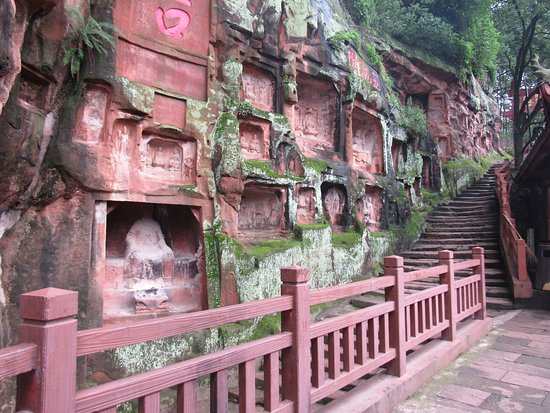 Jiajiang County, China: Buddha statues carved on the cave cliff sides