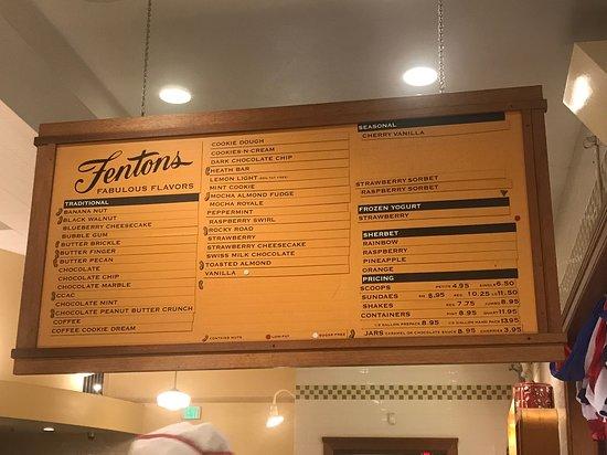 Fentons Creamery and Restaurant: Menu