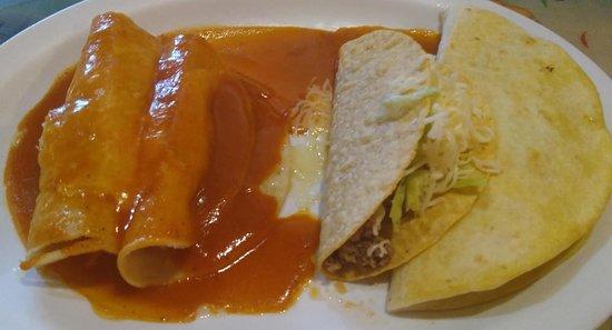Plaza Del Sol: Chicken quesadilla, chicken enchiladas, taco. $7
