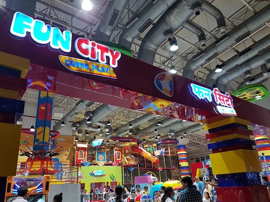 Noida, Indie: Fun City Neon Signage at Entrance Side