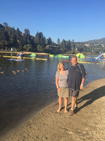 Lake Gregory Regional Park: A happy couple after their way in the water, getting ready for hike around the lake :)