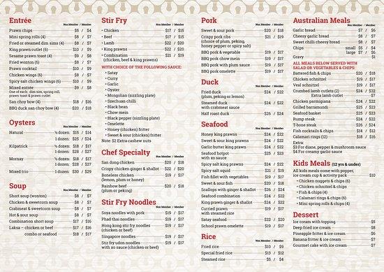 Karuah, Úc: Our new menu Starting 1/9/18